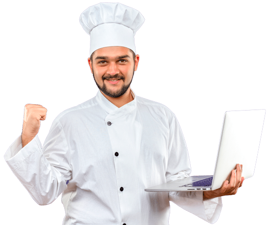 chef foodie con laptop